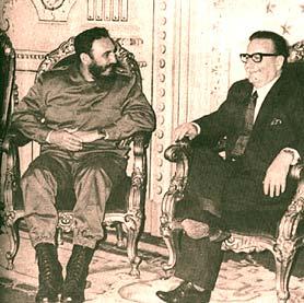 Fidel Castro y Salvador Allende en Cuba