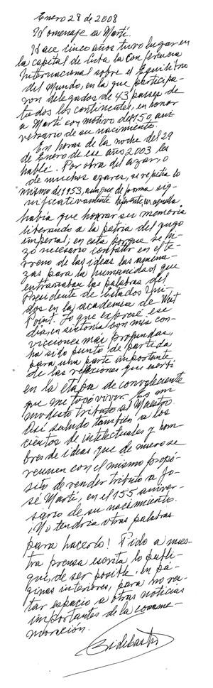 Fidel Castro, Homenaje a Martí