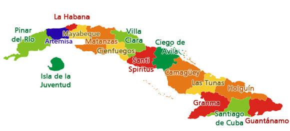 Mapa de Cuba, 15 provincias y 1 municipio especial