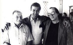 Eduardo Heras junto Mario Benedetti y Silvio Rodríguez