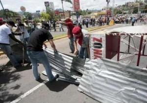 Bloqueo de calles en Honduras.