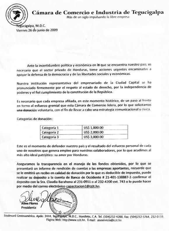 Carta Cámara de Comercio de Honduras