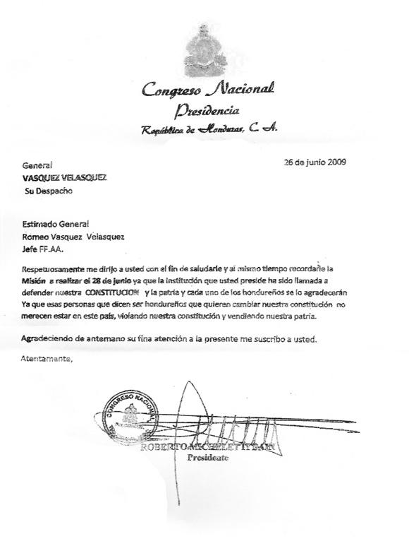 Carta de Micheletti a Jefe de las Fuerzas Armadas de Honduras, General Romeo Vasquez Velasquez