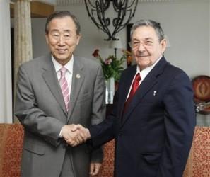 Encuentro del Presidente Raúl Castro con el Secretario General de la ONU Ban Ki-moon.