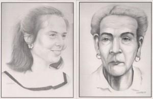 Dos dibujos de Tony: Vilma Espín y Mariana Grajales.