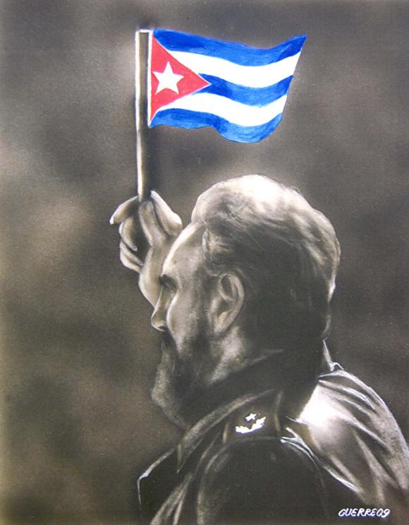 Dibujo de Antonio Guerrero, Fidel con Bandera