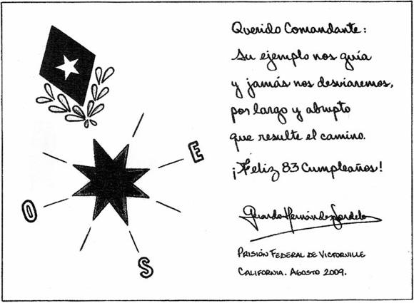 Mensaje Gerardo Hernández a Fidel Castro por su 83 cumpleaño, 13-AGO-2009