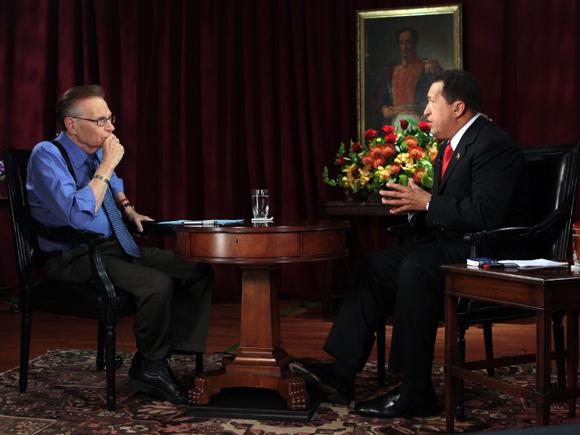 Entrevista de Larry King a Hugo Chávez, CNN, 24 de septiembre. Foto: Prensa Miraflores