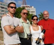 Sergio Armando Díaz, Alfredo Zayas, Laura Lima y Jorge Luís Martín (izq a der), estudiantes y profesores del Instituto Superior de Diseño Industrial, autores del proyecto del cohete postal.