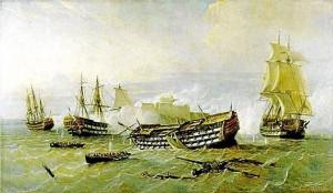 Cuadro que recoge una de las trágicas escenas de hundimientos y que forma parte de la colección del Museo Naval de Madrid.