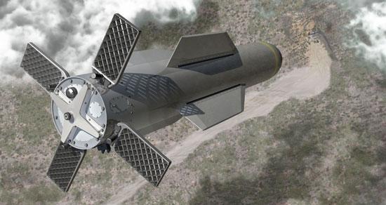 """El """"penetrador de construcciones sólidas"""", en esta concepción artística, es una bomba que sería la más grande de tipo convencional en el arsenal de Estados Unidos. El artefacto mide 6,25 metros de largo y 80 centímetros de ancho y podría llevar 2,4 toneladas (5.300 libras) de explosivos cuando sea producida a mediados del 2010. La imagen fue suministrada por la empresa Boeing Co. (Foto AP/Boeing Co.)"""
