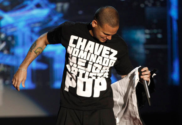 """Residente Calle 13 en MTV """"Chávez nominado mejor artista POP"""" (Foto AP)"""