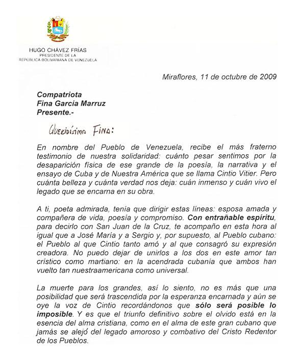 Carta de Hugo Chávez a Fina García Marruz Página 1