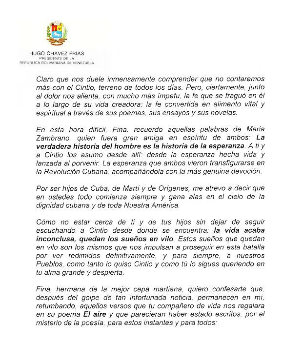 Carta de Hugo Chávez a Fina García Marruz Página 2