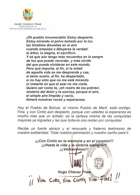 Carta de Hugo Chávez a Fina García Marruz Página 3