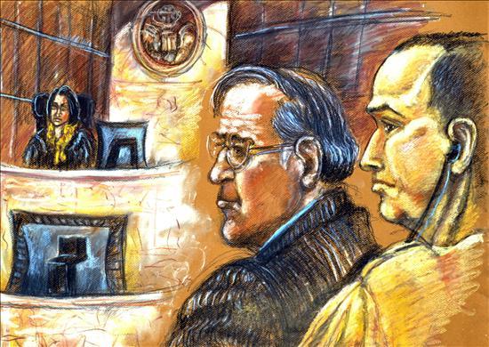 Reproducción fotográfica del dibujo del artista de la Corte Federal de Miami, Shirley Henderson este 13 de octubre de 2009, de Antonio Guerrero y su abogador defensor Leonard Weinglass.  EFE/GASTÓN DE CÁRDENAS/Shirley Henderson