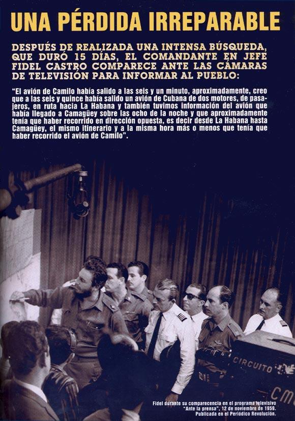 Fidel Castro, explica ante la prensa busqueda de Camilo Cienfuegos