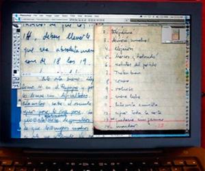 Un ordenador muestra páginas del diario escrito por el líder revolucionario Ernesto Che Guevara entre 1966 y 1967 (Foto AFP/Archivo)