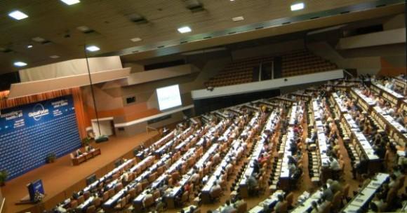 Inauguración del evento Foro Global de Investigaciones de la Salud que se desarrolla en el Palacio de Convenciones de la Habana, Cuba, 16 de noviembre de 2009. AIN FOTO/Sergio ABEL REYES