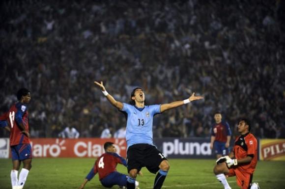 Partido entre Uruguay y Costa Rica, que define participación en el Mundial. Ganó Costa Rica. Foto: AFP