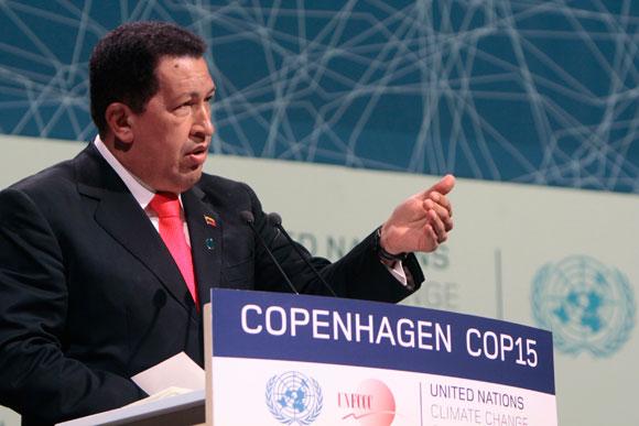 Primera intervención de Hugo Chávez en el Plenario de la Conferencia de las Partes de Naciones Unidas (COP15) sobre el calentamiento global (Foto Prensa Miraflores)