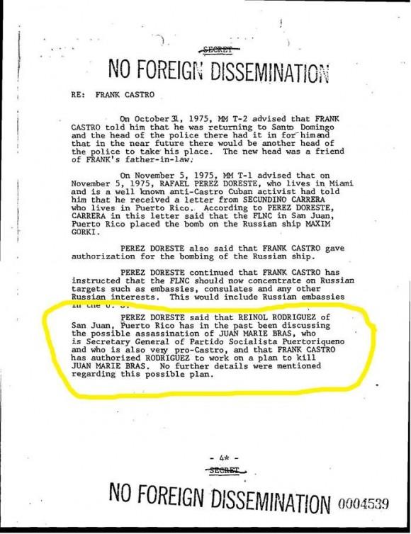Parte del Informe del FBI Número 105-22478, con fecha 29 de marzo de 1976, pocos días después de que Santiago Chagui Mari Pesquera fuera asesinado