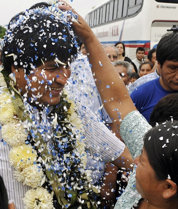 Evo Morales. Elecciones en Bolivia, el 6 de diciembre 2009. Foto:AFP