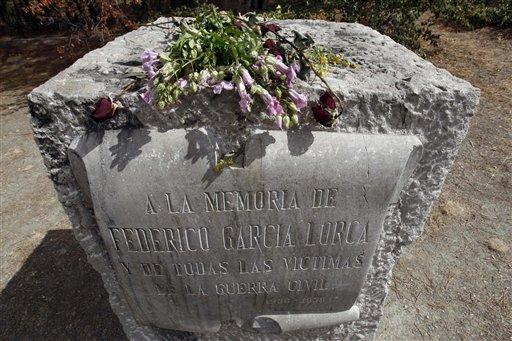 Federico García Lorca: Tarja en Viznar. (Foto: AP)