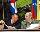 Fidel Castro y Hugo Chavez firma los acuerdos del ALBA