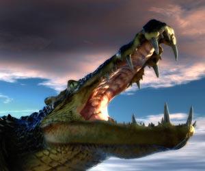 Cocodrilo comía dinosaurio