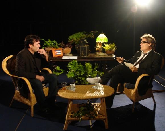Amaury Pérez entrevista a Jorge Perugorría (Foto: Petí)