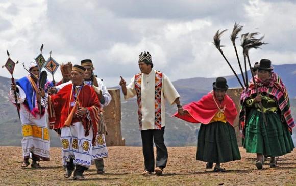 Evo Morales en ritual indígena