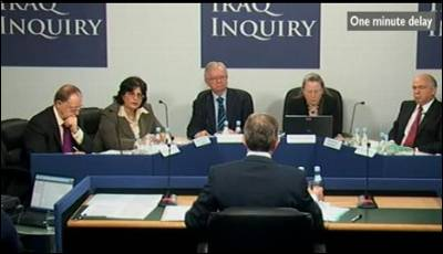 Imagen de la BBC de la comparecencia de Blair.