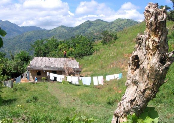 Casa de campesinos en medio de las montañas de la Sierra Maestra. Foto: Kaloian