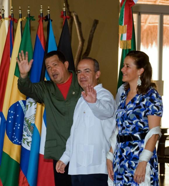 Hugo Chávez en Cancún.