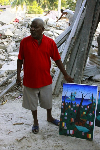 Harold, un artista de la comunidad que logró salir de su casa con sus hijos, antes de que se derrumbara, como reacción decidió pintar.