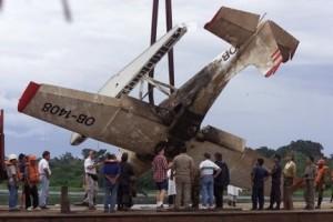 Hidroavión Cessna bombardeado por la CIA en Huanta, Iquitos, el 20 de abril de 2001, donde viajaban los misionero