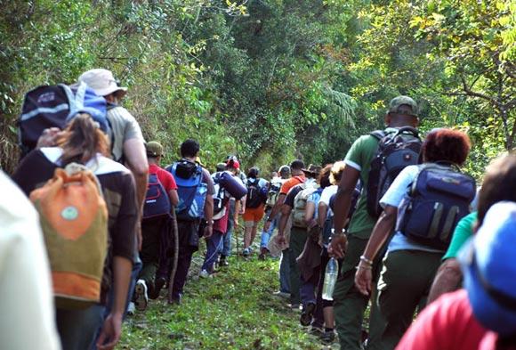 Los exploradores, en esta ocasión miembros de La Colmenita e invitados, subieron las montañas de la Sierra Maestra hasta llegar al Pico Turquino. Foto: Kaloian