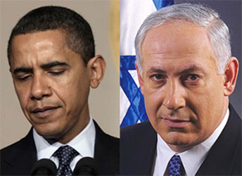 Barack Obama (I), Benjamin Netanyahu (D)