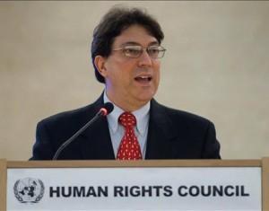 El Canciller cubano Bruno Rodríguez Parrilla, interviene en la décimo tercera sesión del Consejo de Derechos Humanos de la ONU en Ginebra, Suiza, hoy, miércoles 3 de marzo de 2010.