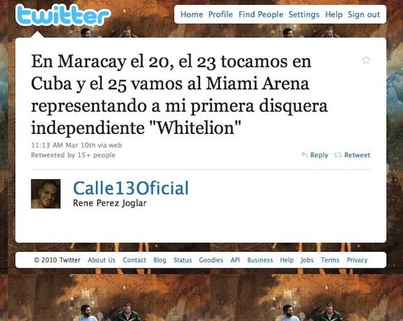 Calle 13 en Twitter