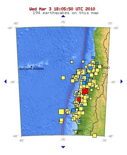 Imagen que muestra las réplicas del sismo en los últimos días - USGS