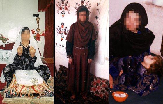 De Izquierda a derecha: 1) Bibi Saliha, de 37 años, tuvo 11 hijos.  2) La otra víctima, Gulalai, 18, iba a casarse. 3) Bibi Shirin y su hija Tamana. (Fotos: The Times, que aclara que ocultan los rostros de las mujeres asesinadas por solicitud expresa de sus familiares)