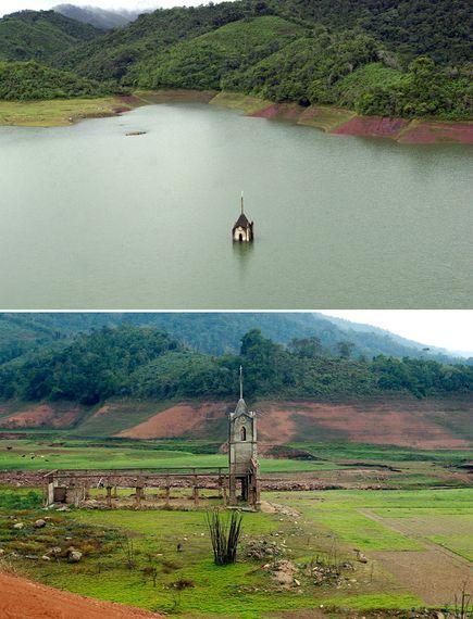 Iglesia sumergida en Venezuela resurge por sequía