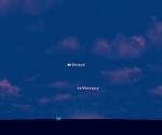 Venus y Mercurio justo después de la puesta del sol el 26 de marzo 2010, desde las latitudes medias nothern. Los dos planetas se parecen más juntos y más alto en el cielo en las noches posteriores. Crédito: SPACE.com gráficas realizadas con el software Starry Night