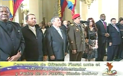 Homenaje Bicentenario: Raúl Castro, Hugo Chávez, Cristina Fernández, Daniel Ortega