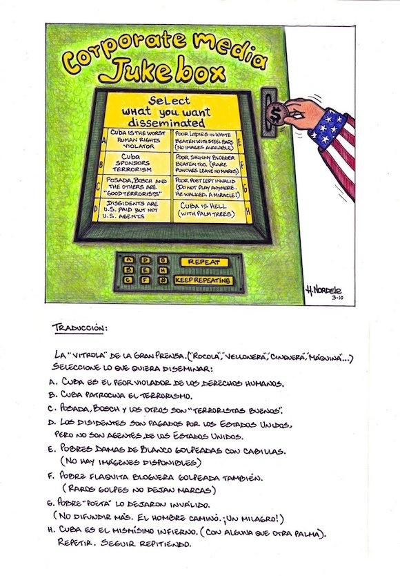 Caricatura de Gerardo Hernández que nos hizo llegar a Cubadebate Adriana Pérez, su esposa. Gerardo se inspiró en la más reciente campaña mediática desatada por EEUU contra Cuba