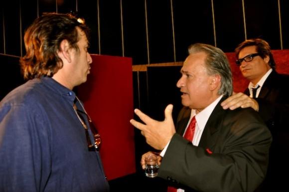 Rafael Solís, director del programa; Fernández y Amaury Pérez.