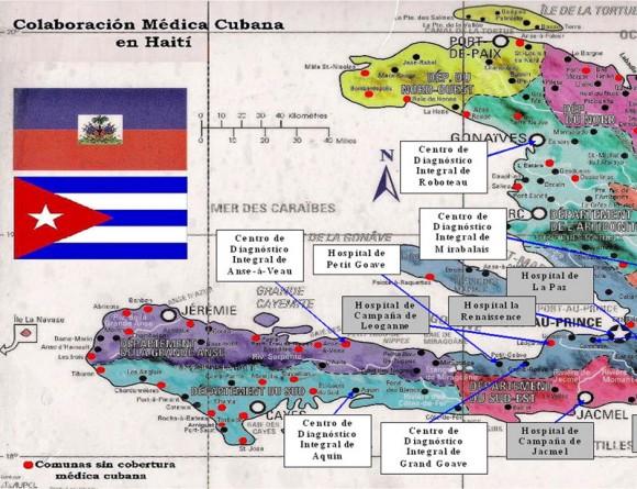 Mapa que indica la ubicación de los hospitales cubanos en Haití, el 5 de febrero de 2010. Infografía AIN
