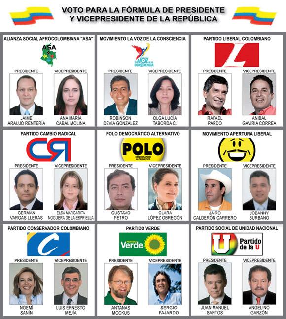 Candidatos a Elecciones en Colombia, 2010